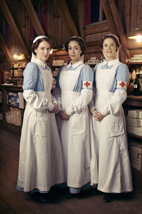 Programme Name: The Crimson Field - TX: n/a - Episode: Generics (No. n/a) - Picture Shows: (L-R) Flora Marshall (ALICE ST CLAIR), Kitty Trevelyan (OONA CHAPLIN), Rosalie Berwick (MARIANNE OLDHAM) - (C) BBC - Photographer: Todd Antony